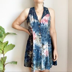 Hibis Lace Works Floral Print Blue Pink Lace Small
